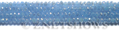 Tiaria Glass Crystal 47AB-Opaque Sky Blue AB rondelle Beads <b>6x4mm</b> faceted     per   <b> 8.5-in-str (50-pc-str)</b>