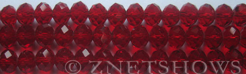 Tiaria Glass Crystal 05-Cherry Red rondelle Beads <b>10x8mm</b> faceted     per   <b> 8-in-str (26-pc-str)</b>