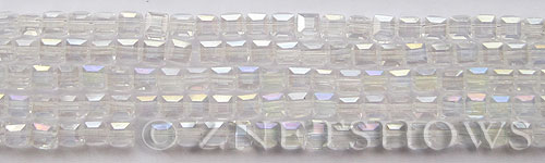 Tiaria Glass Crystal 01AB-Crystal AB cube Beads <b>4mm </b> faceted     per   <b> 8.5-in-str (50-pc-str) </b>