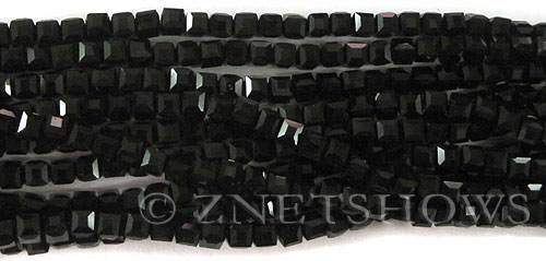 Tiaria Glass Crystal 02-Jet Black cube Beads <b>4mm </b> faceted     per   <b> 8.5-in-str  (50-pc-str) </b>