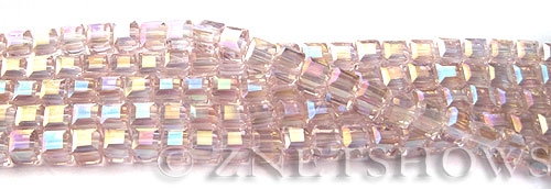 Tiaria Glass Crystal 06AB-Blossom Pink AB cube Beads <b>4mm </b> faceted     per   <b> 8.5-in-str  (50-pc-str) </b>