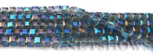 Tiaria Glass Crystal 118-Ultramarine Blue cube Beads <b>4mm </b> faceted     per   <b> 8.5-in-str  (50-pc-str) </b>