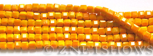 Tiaria Glass Crystal opaque orange color cube Beads <b>4mm</b> faceted   per   <b> 8.5-in-str</b>