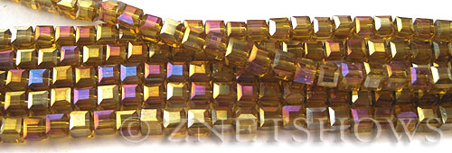 Tiaria Glass Crystal 17AB-Amber AB cube Beads <b>4mm </b> faceted     per   <b> 8.5-in-str  (50-pc-str) </b>