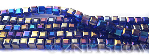 Tiaria Glass Crystal 33AB-Royal Blue AB cube Beads <b>4mm </b> faceted     per   <b> 8.5-in-str  (50-pc-str) </b>