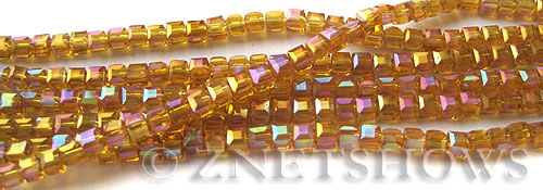 Tiaria Glass Crystal 17AB-Amber AB cube Beads <b>3mm </b> faceted     per   <b> 8.5-in-str  (71-pc-str) </b>