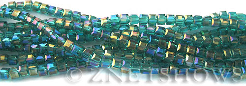 Tiaria Glass Crystal 26AB-Green Zircon AB cube Beads <b>3mm </b> faceted     per   <b> 8.5-in-str  (71-pc-str) </b>