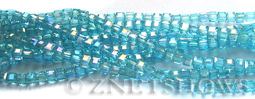 Tiaria Glass Crystal 28AB-Turquoise Bay AB cube Beads <b>3mm </b> faceted     per   <b> 8.5-in-str  (71-pc-str) </b>