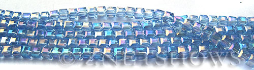 Tiaria Glass Crystal 31AB-Light Sapphire AB cube Beads <b>3mm </b> faceted     per   <b> 8.5-in-str  (71-pc-str) </b>