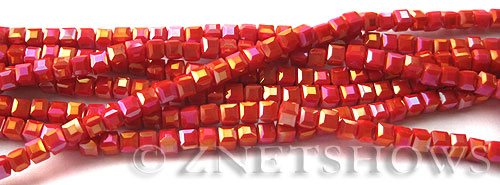Tiaria Glass Crystal 73AB-Ruby Orange Red AB cube Beads <b>3mm </b> faceted     per   <b> 8.5-in-str  (71-pc-str) </b>