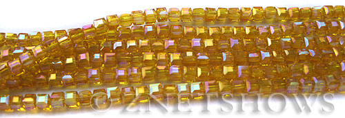 Tiaria Glass Crystal 84AB-Lemon AB cube Beads <b>3mm </b> faceted     per   <b> 8.5-in-str  (71-pc-str) </b>