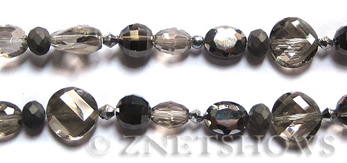 Tiaria Glass Crystal gray tone mix Tiaria Mix Beads <b>varies</b> faceted   per   <b> 8-in-str</b>