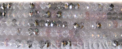 Tiaria Glass Crystal Steel Rose Tiaria Mix Beads <b>6x4mm</b> faceted   per   <b> 10-str-hank</b>