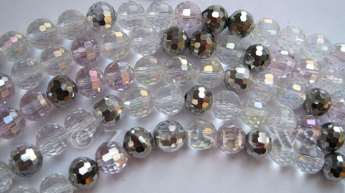 Tiaria Glass Crystal Steel Rose Tiaria Mix Beads <b>8mm</b> faceted   per   <b> 10-str-hank (26-pc-str)</b>