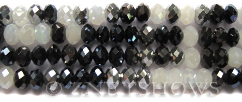Tiaria Glass Crystal Denim Buckles Tiaria Mix Beads <b>8x5mm</b> faceted   per   <b> 10-str-hank</b>