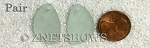 Cultured Sea Glass eclipse Pendants <b>about 25x17mm</b> 88-Light Aqua 'Coke' Bottle Seafoam per <b>pair</b>