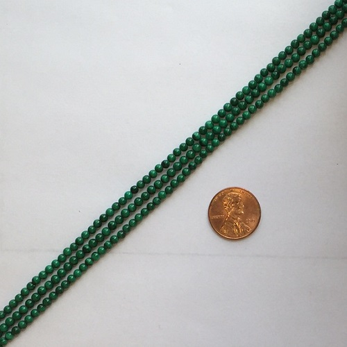 Other stone & material malachite round Beads <b>3mm</b>     per   <b> 15.5-in-str</b>
