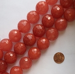 strawberry glass quartz faceted round Beads <b>22mm</b>     per   <b> 16-Inch Strand</b>