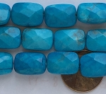 turquoise color howlite faceted rectangle puffed Beads <b>10x14mm</b>     per   <b> 15.5-in-str</b>