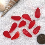 Cultured Sea Glass teardrop nugget charms <b>about 8-10x16-21mm</b> 05-Cherry Red <b> top side drilled </b> per <b>10-pc-bag</b>