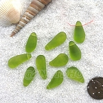Cultured Sea Glass teardrop nugget charms <b>about 8-10x16-21mm</b> 22-Olive <b> top side drilled </b> per <b>10-pc-bag</b>