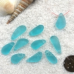 Cultured Sea Glass teardrop nugget charms <b>about 8-10x16-21mm</b> 28-Turquoise Bay <b> top side drilled </b> per <b>10-pc-bag</b>