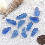 Cultured Sea Glass teardrop nugget charms <b>about 8-10x16-21mm</b> 31-Light Sapphire <b> top side drilled </b> per <b>10-pc-bag</b>