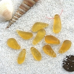 Cultured Sea Glass teardrop nugget charms <b>about 8-10x16-21mm</b> 16-Desert Gold <b> top side drilled </b> per <b>10-pc-bag</b>