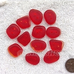 Cultured sea glass flat freeform two-hole clothing buttons <b>18-22x15-17mm</b> 05-Cherry Red per <b>12-pc-bag</b>, possible use as very unique end piece for a bracelet or necklace.