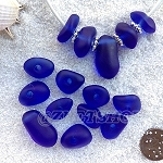 Cultured sea glass freeform large hole nugget <b>about 12-14x16-25mm</b> 33-Royal Blue per <b>10-pc-bag</b>, very unique necklace center (focal) set