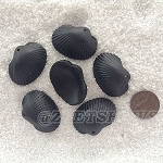 Cultured Sea Glass sea shell Pendants <b>31x22mm</b> 02-Jet Black per <b>6-pc-bag</b>