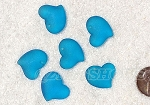 Cultured Sea Glass Small Puffed Fancy Heart Pendants <b>18x18mm</b> 30-Pacific Blue per <b>6-pc-bag</b>