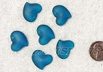 Cultured Sea Glass Small Puffed Fancy Heart Pendants <b>18x18mm</b> 82-Teal per <b>6-pc-bag</b>
