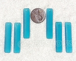 Cultured Sea Glass Large Elongated Puffed Rectangle Pendants <b>8x38mm</b> 82-Teal per <b>6-pc-bag</b>