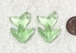 Cultured Sea Glass Whale Tail Splash Pendants <b>35x24mm</b> 23-Peridot per <b>2-pc-bag</b>