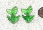 Cultured Sea Glass Whale Tail Splash Pendants <b>35x24mm</b> 25-Shamrock per <b>2-pc-bag</b>