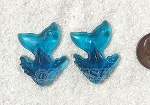 Cultured Sea Glass Whale Tail Splash Pendants <b>35x24mm</b> 82-Teal per <b>2-pc-bag</b>