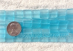 Cultured Sea Glass Square Puffed Beads <b>12x12mm</b> 28-Turquoise Bay per <b>5-str-hank(9-pc-str)</b>