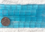 Cultured Sea Glass Square Puffed Beads <b>12x12mm</b> 30-Pacific Blue per <b>5-str-hank(9-pc-str)</b>