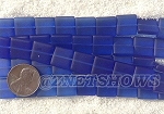 Cultured Sea Glass Square Puffed Beads <b>12x12mm</b> 33-Royal Blue per <b>5-str-hank(9-pc-str)</b>