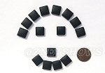 Cultured Sea Glass Cabachons and Art Tiles Square Puffed <b>12mm</b> 02-Jet Black per <b>15-pc-bag</b>