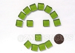 Cultured Sea Glass Cabachons and Art Tiles Square Puffed <b>12mm</b> 22-Olive per <b>15-pc-bag</b>