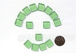 Cultured Sea Glass Cabachons and Art Tiles Square Puffed <b>12mm</b> 23-Peridot per <b>15-pc-bag</b>