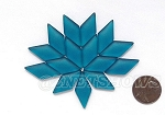 Cultured Sea Glass Cabachons and Art Tiles Diamond Puffed <b>25x12mm</b> 82-Teal per <b>15-pc-bag</b>