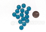 Cultured Sea Glass Cabachons and Art Tiles Coin Puffed <b>12mm</b> 82-Teal per <b>15-pc-bag</b>