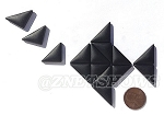 Cultured Sea Glass Cabachons and Art Tiles Triangle Puffed <b>25x12mm</b> 02-Jet Black per <b>15-pc-bag</b>