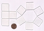 Cultured Sea Glass Cabachons and Art Tiles Square Puffed <b>25mm</b> 01-Crystal per <b>10-pc-bag</b>