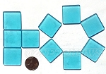 Cultured Sea Glass Cabachons and Art Tiles Square Puffed <b>25mm</b> 30-Pacific Blue per <b>10-pc-bag</b>