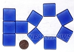 Cultured Sea Glass Cabachons and Art Tiles Square Puffed <b>25mm</b> 33-Royal Blue per <b>10-pc-bag</b>