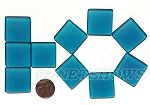 Cultured Sea Glass Cabachons and Art Tiles Square Puffed <b>25mm</b> 82-Teal per <b>10-pc-bag</b>